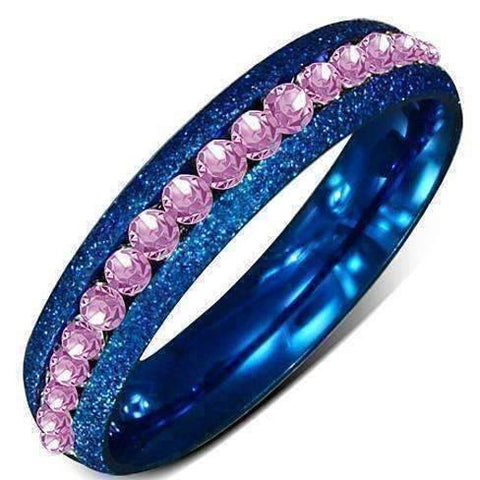"Feshionn IOBI Rings 6 / Pink ""Pink n Blue"" Channel Set Eternity Ring"