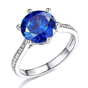Feshionn IOBI Rings 6 Posh Blue 3CT Simulated Sapphire Triple Pavé Trellis Solitaire Ring