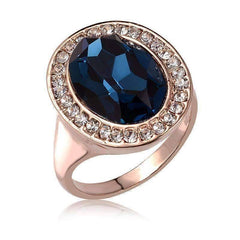 "Feshionn IOBI Rings 6 ""Rhapsody in Blue"" Classic Oval Sapphire Blue and Diamond Austrian Crystal Halo Cocktail Ring"