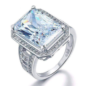 Feshionn IOBI Rings 6 Romantic Fire 8.5CT Emerald Cut Halo Ring