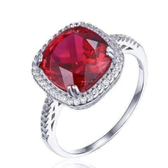 Feshionn IOBI Rings 6 / Rubellite Ring Passion Rubellite Cushion Cut 6.5CTW IOBI Precious Gems Halo Ring