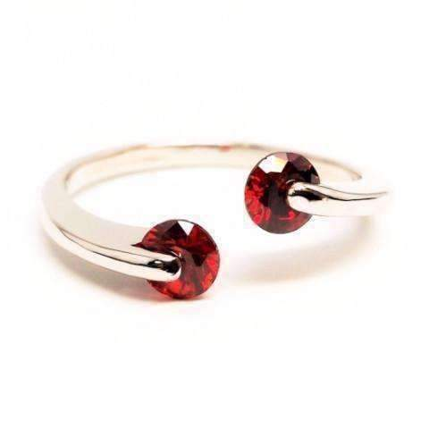 Feshionn IOBI Rings 6 / Ruby Red ON SALE - Double Glimmer 2 Stone Ring - Choose Your Color
