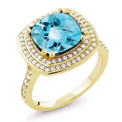 Sky Blue Topaz 5.87Ct Cushion Cut IOBI Precious Gems Ring