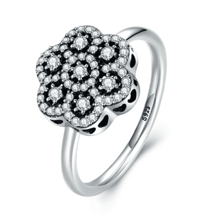 Feshionn IOBI Rings 6 Sparkling Petals CZ Sterling Silver Flower Ring