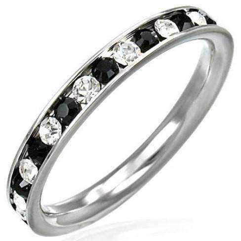 Black And White Eternity Band Ring For Men Or Women