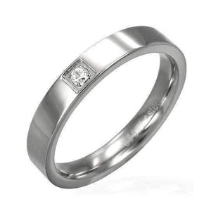 Feshionn IOBI Rings 6 / Stainless Steel CLEARANCE - Double Agent Classic Thin Stainless Steel Band with Inset CZ Ring