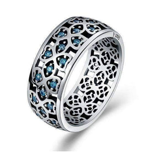 Feshionn IOBI Rings 6 Sweet Blue Clover CZ Sterling Silver Band Ring