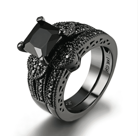 Feshionn IOBI Rings 6 Twilight Hearts Black Gold CZ Solitaire Engagement Ring Set