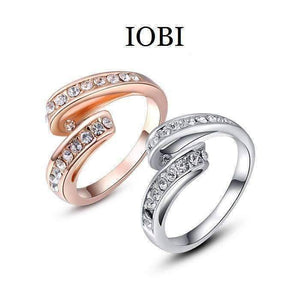 Feshionn IOBI Rings 6 / White Gold Party Streamer Channel Set Austrian Crystal Ring