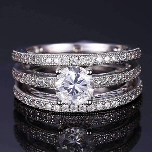 Feshionn IOBI Rings 6 Yesterday, Today and Tomorrow 3 Band Filigree Cubic Zirconia Wedding Ring Set