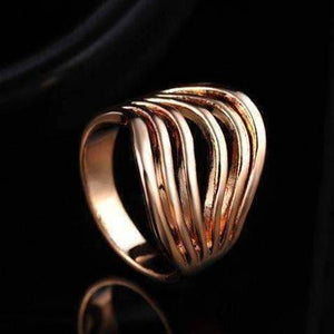 "Feshionn IOBI Rings 7 / 18k Rose Gold ""Contour"" Six Line Ring in 18k Rose Gold or White Gold"