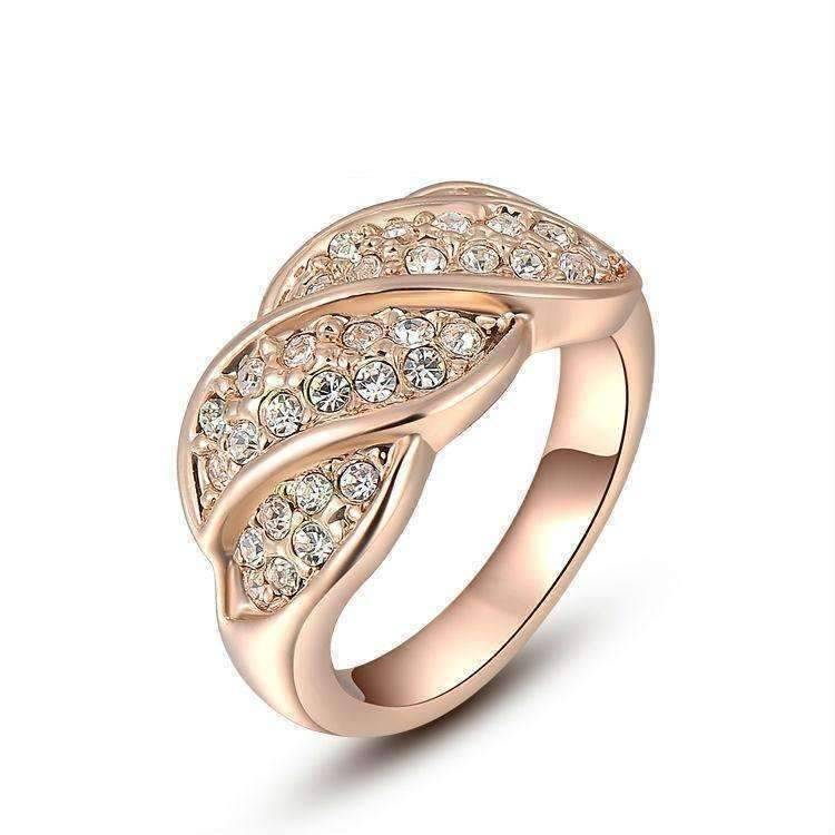 Feshionn IOBI Rings 6 / 18K Rose Gold French Twist Pavé Crystal Ring in 18k Rose Gold or White Gold