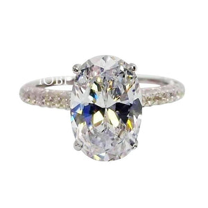 Feshionn IOBI Rings 7 / 3CT Alexandra 3CT Oval Petite French Pavé Crown IOBI Cultured Diamond Ring