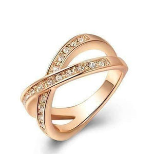 Feshionn IOBI Rings 7.5 / Rose Gold ON SALE - Channel Set Criss Cross Ring