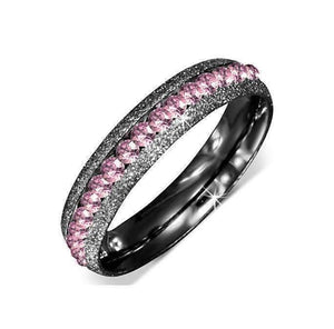 Feshionn IOBI Rings 7 / Black CLEARANCE - Pink & Black Channel Set CZ Eternity 316 Stainless Steel Ring