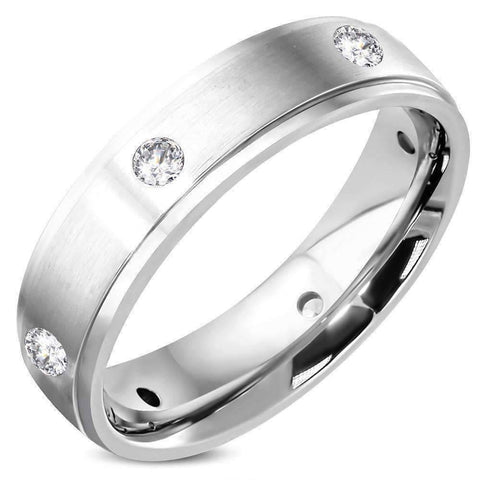 Feshionn IOBI Rings 7 Eternal Satin Finished Men's Stainless Steel CZ Inset Band Ring