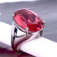 Feshionn IOBI Rings 7 Flamingo Kisses 15ct Pink Oval Cut Austrian Crystal White Gold Plated Cocktail Ring