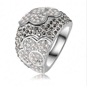 "Feshionn IOBI Rings 7 ""Moonlit Garden"" Floral Motif Micro Pavé CZ Dome Cocktail Ring"