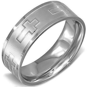 "Feshionn IOBI Rings 7 / Silver ""Infinite Crosses"" Stainless Steel Men's Ring"