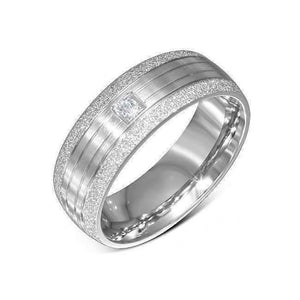 Feshionn IOBI Rings 7 / Stainless Steel Men's Sandblasted Comfort Fit 316 Stainless Steel Simulated Diamond Ring