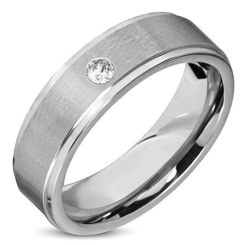 Feshionn IOBI Rings 7 / Stainless Steel Satin Finished Classic Men's 316 Stainless Steel Band Ring with Inset CZ