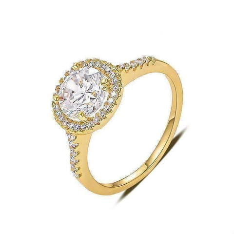 Feshionn IOBI Rings 7 / Yellow Gold ON SALE - Bella Luna Round Halo 2 CT Austrian Crystal Gold Ring