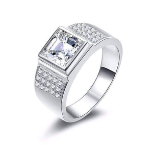 Feshionn IOBI Rings 8 Augustus 2.9CT Square Radiant Crown Cut IOBI Cultured Diamond Men's Ring