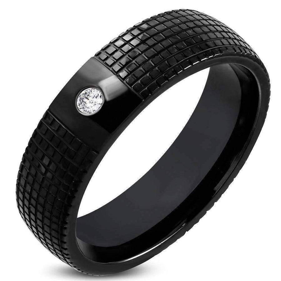 Feshionn IOBI Rings 8 CLEARANCE - Essence Laser Etched Men's Black Stainless Steel Band Ring with Inset CZ