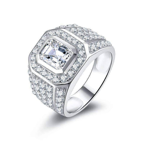 Feshionn IOBI Rings 8 Osiris 2.5CT Emerald Cut Pavé Bezel Set IOBI Cultured Diamond Men's Ring
