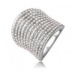 "Feshionn IOBI Rings 8 / Platinum ""Echo"" Pavé Set Clear Austrian Crystal Platinum Plated Cocktail Ring"