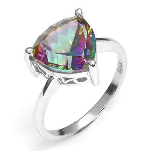 Feshionn IOBI Rings 8 / Rainbow Rainbow Fire Genuine Mystic Topaz Trillion Cut 3CT IOBI Precious Gems Solitaire Ring