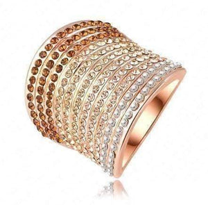 Feshionn IOBI Rings 8 / Rose Gold Gold Gradient Austrian Crystal 18K Rose Gold Plated Cocktail Ring