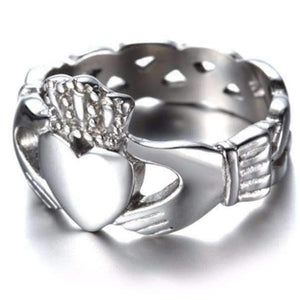 Feshionn IOBI Rings 9 Celtic Knot Claddagh Stainless Steel Ring