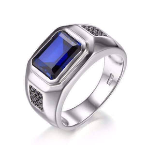 Feshionn IOBI Rings 9 Octavius 4.3CT Emerald Cut Swiss Blue Sapphire IOBI Precious Gems Men's Ring