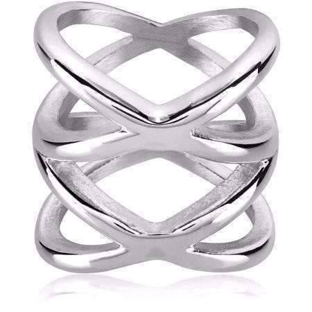 Feshionn IOBI Rings 9 Orbit Stainless Steel Symmetrical Criss-Cross Ring For Men or Women