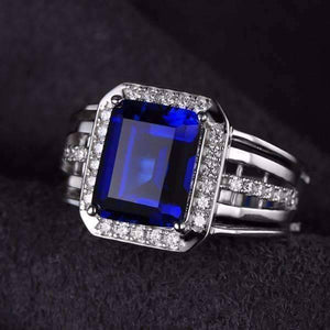 Feshionn IOBI Rings 9 Reginald 4.3CT Emerald Cut Swiss Blue Sapphire IOBI Precious Gems Ring for Women or Men