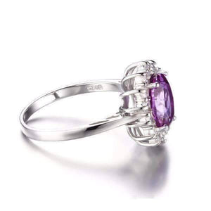 Feshionn IOBI Rings Alexandrite Sapphire Oval Cut 2.5CT IOBI Precious Gems Halo Ring