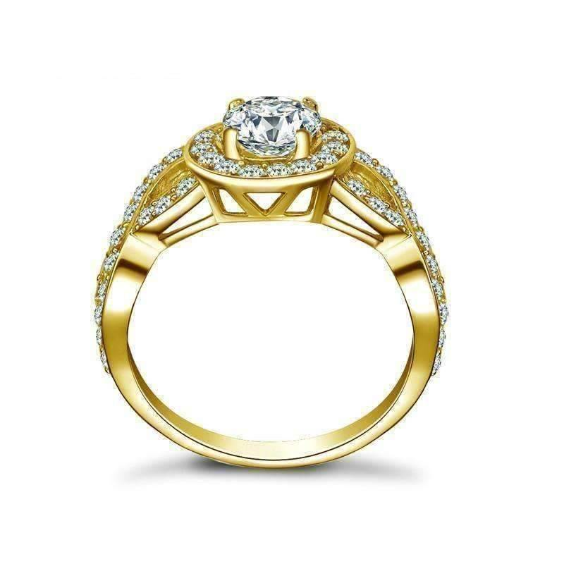 Feshionn IOBI Rings 5 Allura 0.80CT Twisted Halo 10K Solid Yellow Gold IOBI Cultured Diamond Ring