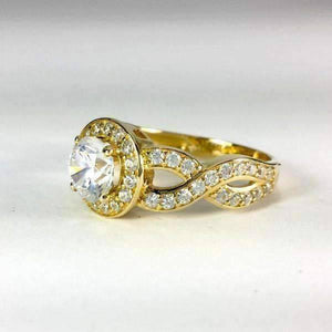 Feshionn IOBI Rings Allura 0.80CT Twisted Halo 10K Solid Yellow Gold IOBI Cultured Diamond Ring