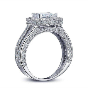 Feshionn IOBI Rings Alluring Princess Cut Halo Sterling Silver Split Shank Ring