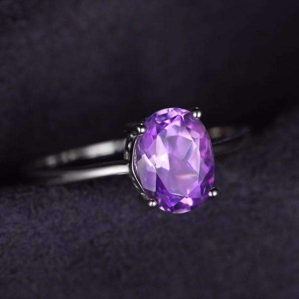 Feshionn IOBI Rings 6 / Oval Amethyst Ring Amethyst Oval Cut 1.1CT IOBI Precious Gems Ring