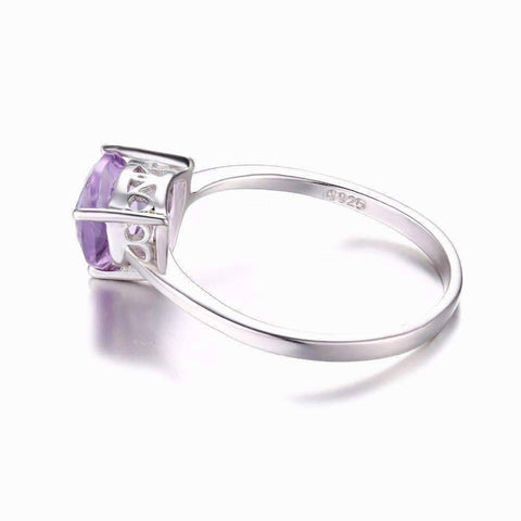 Feshionn IOBI Rings Amethyst Trillion Cut 1CT IOBI Precious Gems Solitaire Ring
