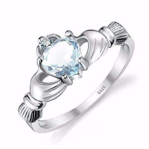 Feshionn IOBI Rings Aquamarine / 6 Tara Claddagh Heart 0.4CT Genuine Aquamarine IOBI Precious Gems Ring