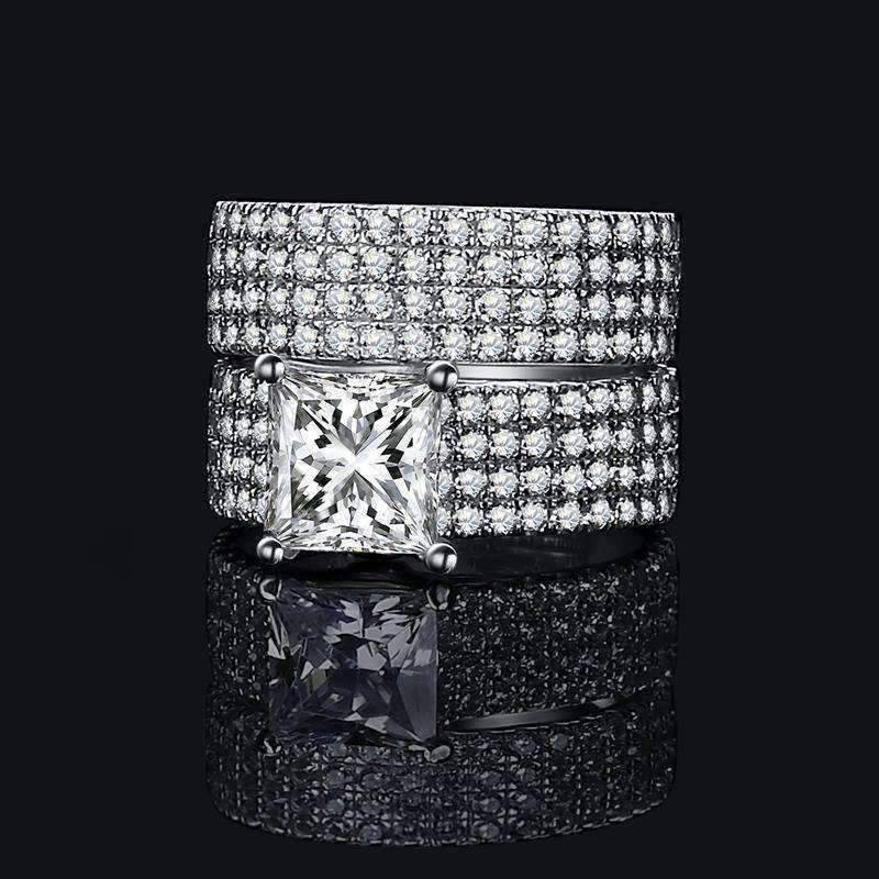 Feshionn IOBI Rings Audra 2.5CT Princess Cut Pavé Wedding Band Set IOBI Cultured Diamond Rings