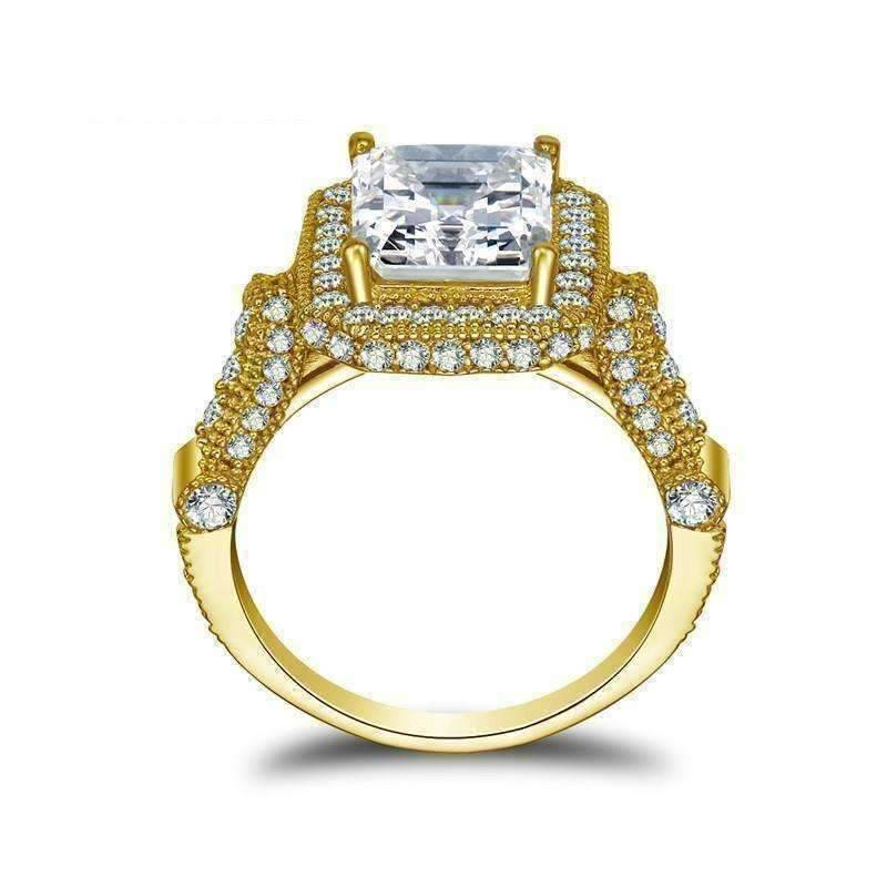 Feshionn IOBI Rings 4 Aurelia D'ora 3CT Emerald Cut Halo 10K Solid Yellow Gold IOBI Cultured Diamond Ring