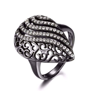 Feshionn IOBI Rings Black / 6 Ebony Swirl Black Gold Filigree and CZ Cocktail Ring