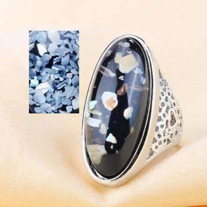 Feshionn IOBI Rings Black/Gold / 6.25 Elongated Abalone Cabochon Heart Cut-Out Silver Ring