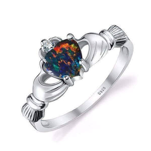 Feshionn IOBI Rings Black Opal / 6 Erin Claddagh Heart 0.4CT Cultured Black Opal IOBI Precious Gems Ring