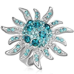 "Feshionn IOBI Rings Blue ""Blue Starburst"" Adjustable Stainless Steel Ring"