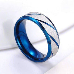 Blue Titanium Etched Men's Wedding Band Ring
